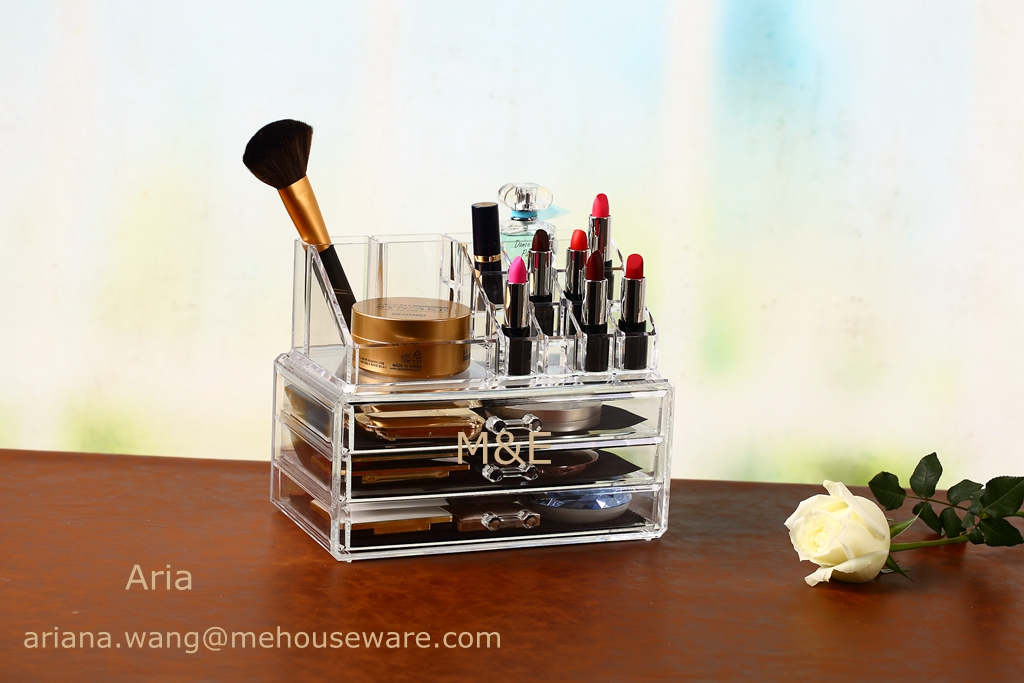 Promotion Acrylic Makeup Organizer with 3 Drawer and Top