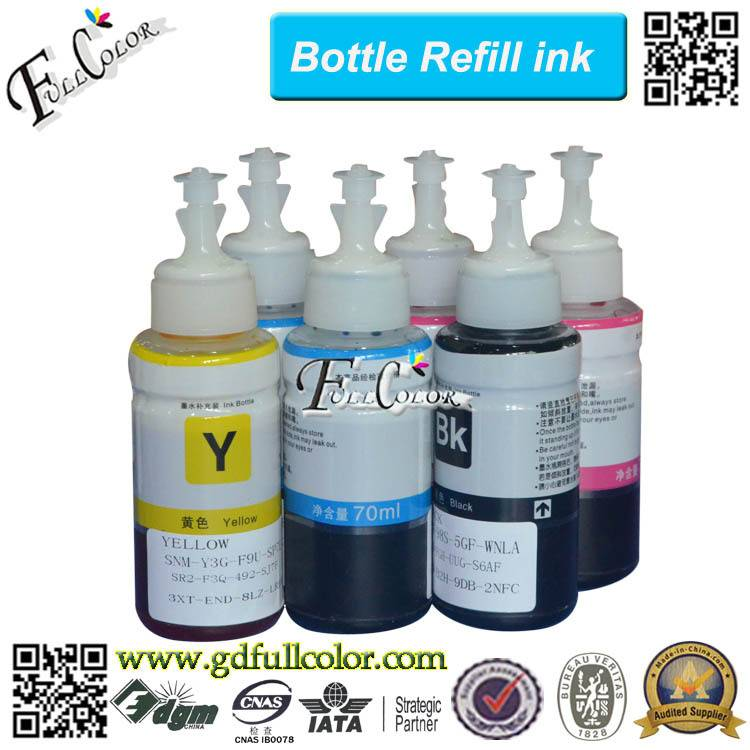 70 ML Bottle Water Based Inkjet Dye Ink for Epson L800 L801 L810 L850 L1300 L1800 All in One Printer