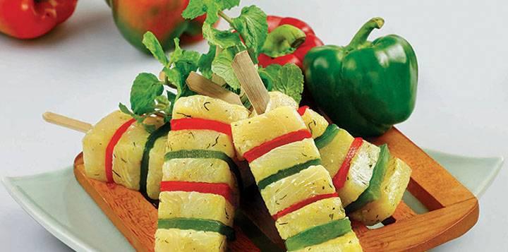 Marinated Pangasius And Vegetable Skewer