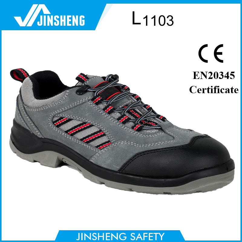 slip resistant gray suede leather labor protective shoes