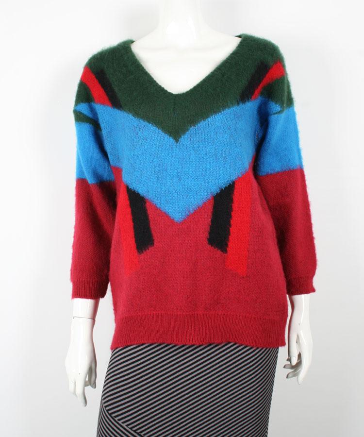 Ladies V Neck Off Shoulder Color Combination Sweater