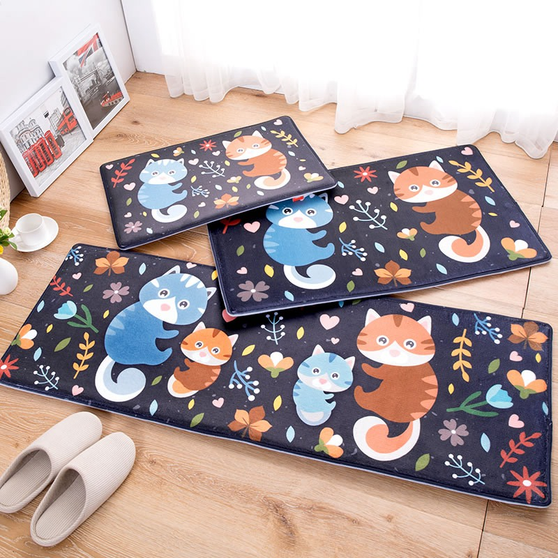 Modern Doormat Cute Raccoon Family Printed Floor Carpets Anti-skid Bedroom Rugs Mats for Home Decor