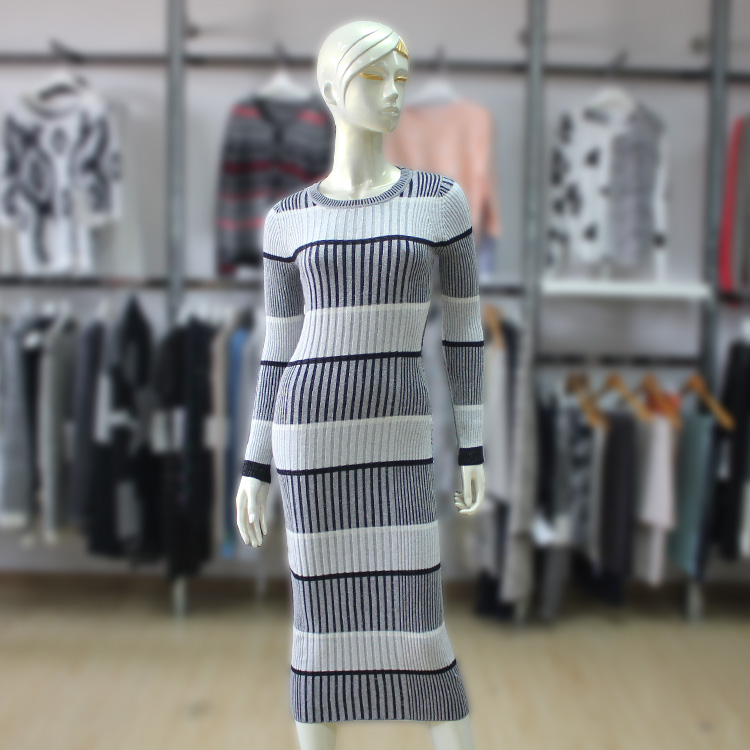 Womens Tunic Sweater Dress Rib Stripe Design Fall/Winter Ladies Long Sleeve Elastic Slim Dress