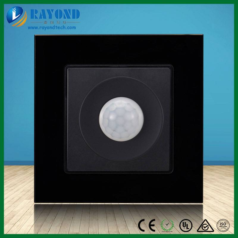 PIR Motion Sensor Light Switch with Black Crystal Acrylic Panel