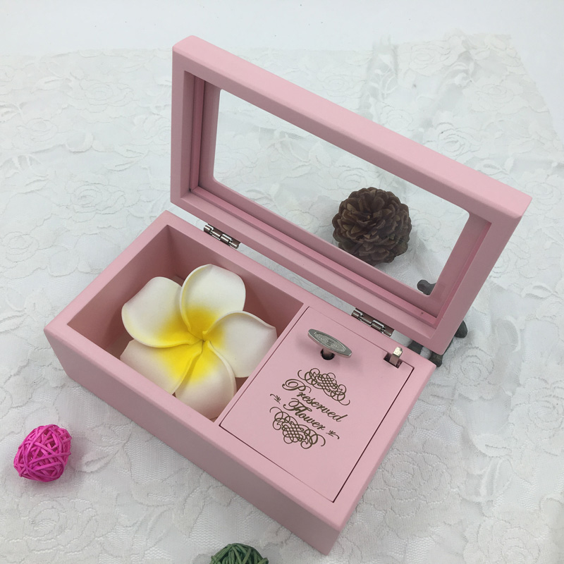 Wood matt Pink Music Box with Eternal flower