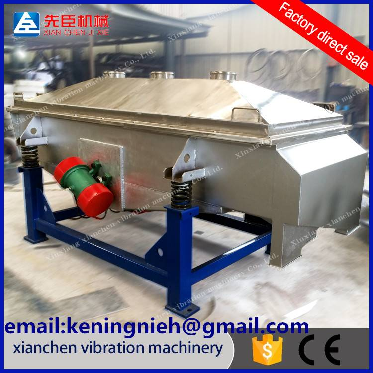 Linear vibrating screen for the powder, nubble and particle sieving