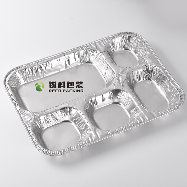 Food Grade 5-Compartment Alufoil Tray for Restaurant
