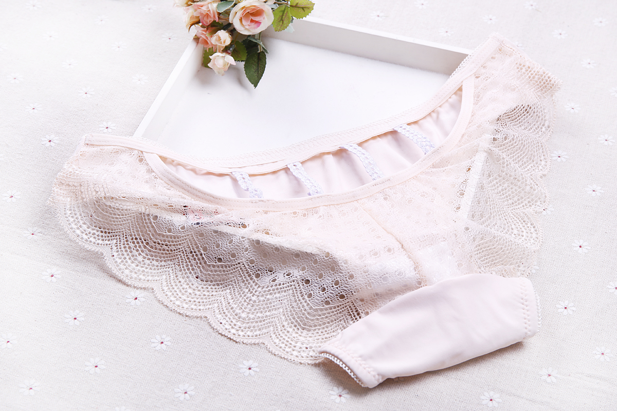 Fashion Women Sexy Seamless Transparent Pattern Mesh Underwear Erotic Floral Ruffles Polyester Lady