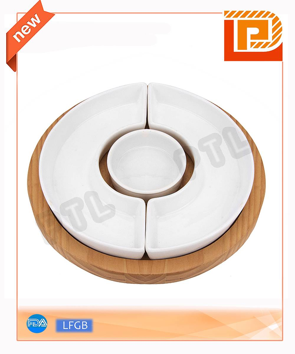 circular ceramic food holder with wooden stand