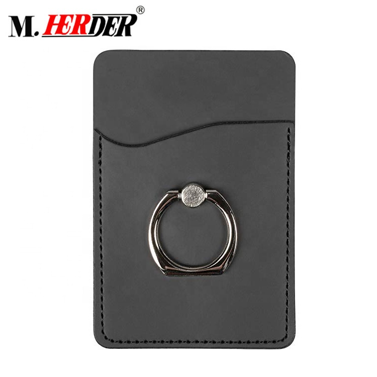 Custom Cell phone sticker card holder with metal ring Credit card holder for back of phone