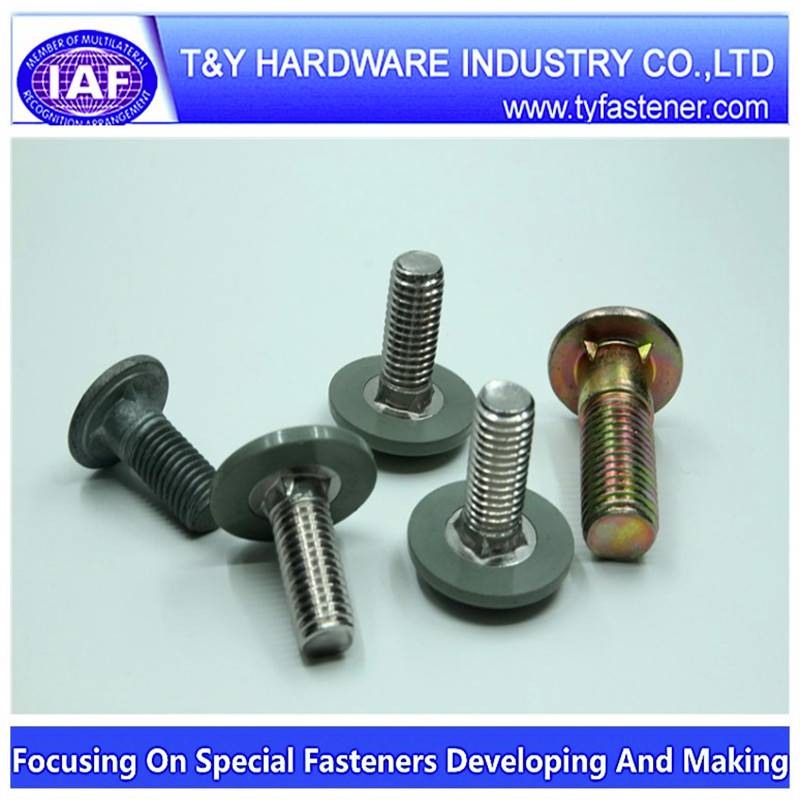 Fin neck bolt with cap / zinc plated / class4.8