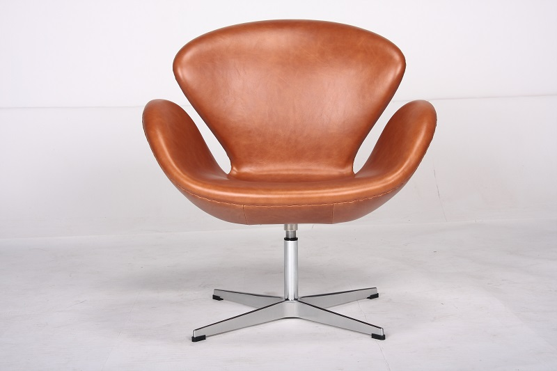 Arne Jacobsen Swan Chair In Genuine Italian Aniline Leather