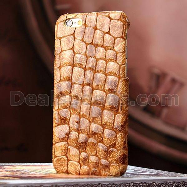Stone Pattern Real Cow Leather Back Housing Cover for iPhone 6 Plus 5.5 inch
