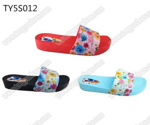 fancy charming printing upper ladies casual beach walking slide sandals