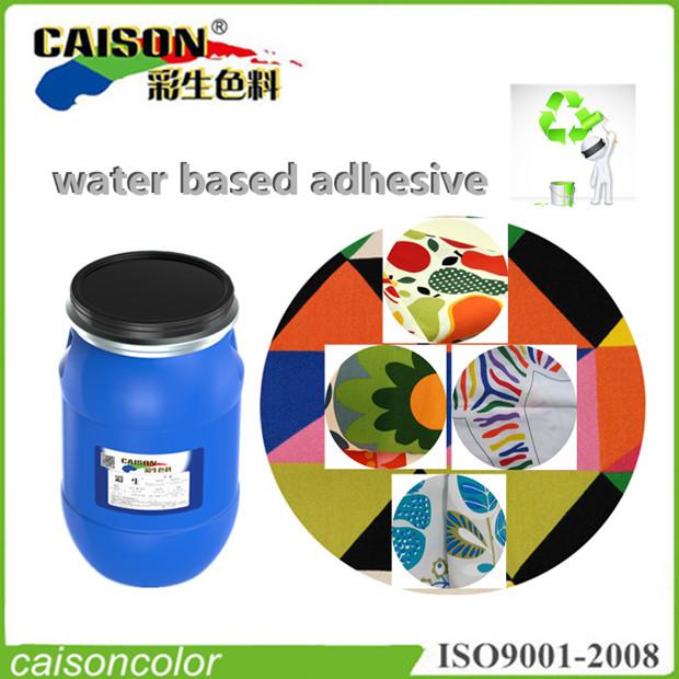 Water based textile printing adhesive