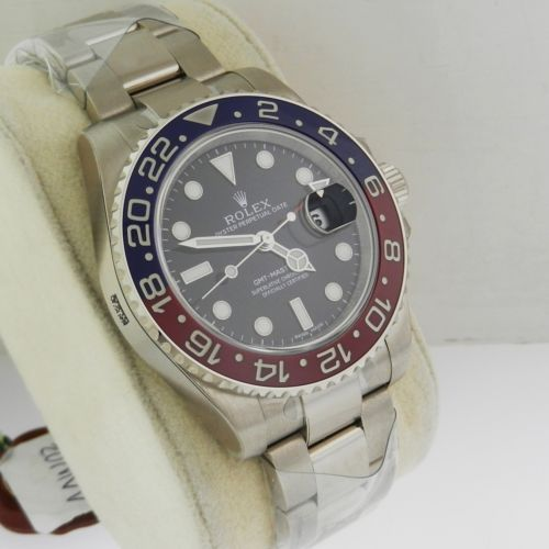 NEW Rolex GMT Master II 116719 BLRO Red Blue Ceramic Bezel 18K White Gold Luxury Watch