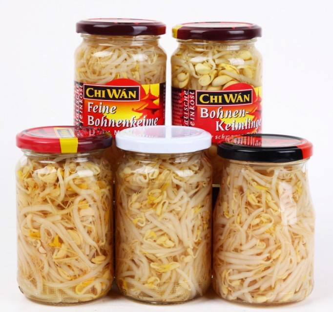 Canned vegetables bean sprouts in glass jar 370ml
