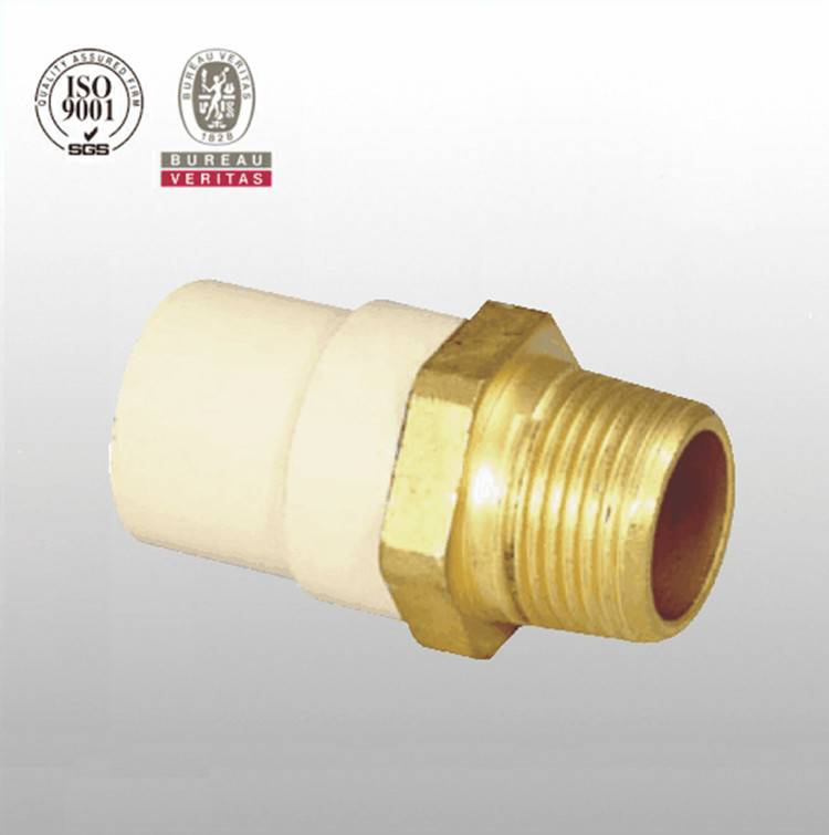 HJ brand CPVC ASTM D2846 pipe fitting male adapter with brass