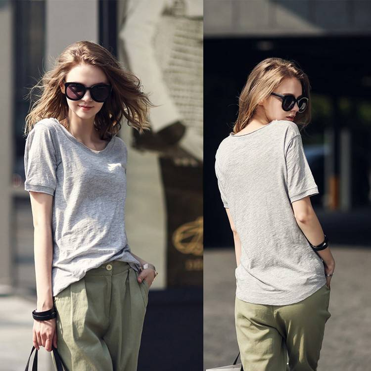 cotton polyester short sleeve womens t shirts
