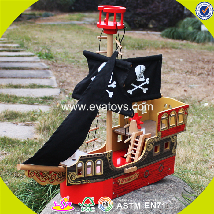 2017 wholesale kids wooden pirate ship toy new design children wooden pirate ship toy best baby wood