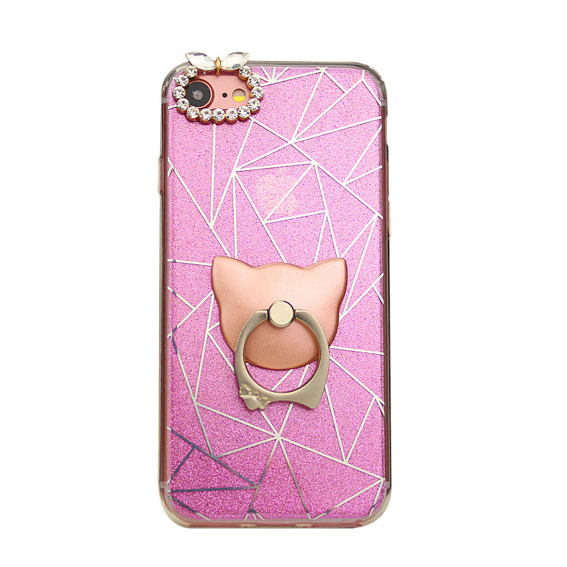 Bling Ring Holder Soft TPU Back Cover for iPhone6s/7/8plus Mobile Phone Case Ladies