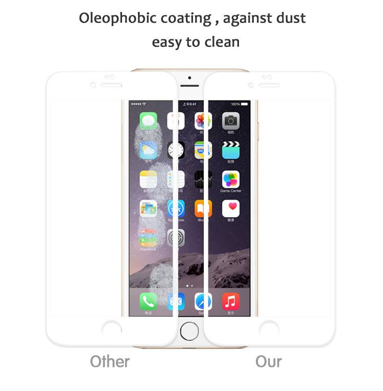 Excellent colorful 3D anti-fingerprint 0.3mm premuim tempered glass screen protector for iphone 6s