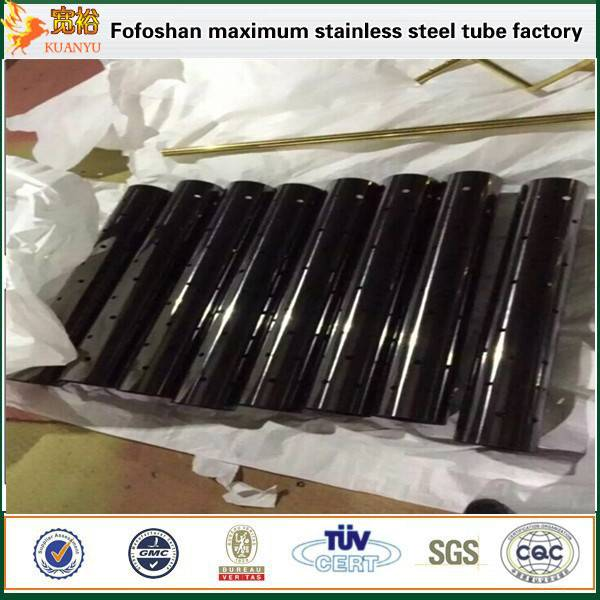 grade 304 titanium black sand stainless steel single slot pipes for balcony railing prices