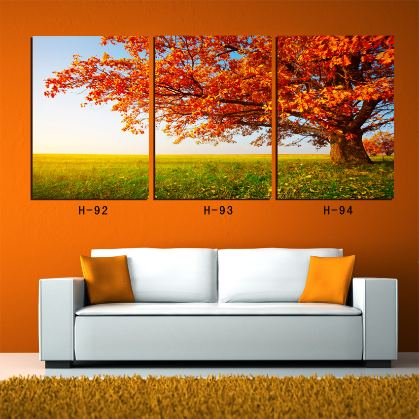 Paintings for living room wall 3 Piece Yellow Tree Autumn Scenery Wall art canvas