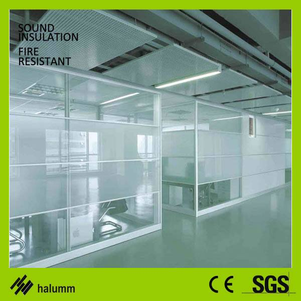 Double Glass and wood fixed high office Partition And sound acoustic glass parition
