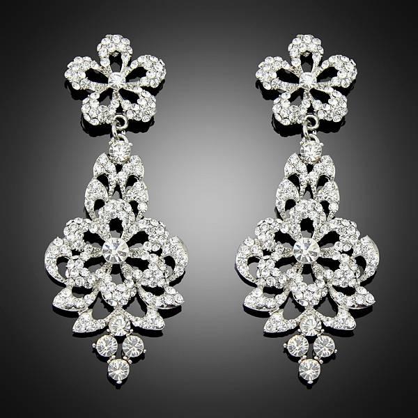 Fantastic New Fashion Women Lady platinum Crystal Drop Alloy Ear dangle earrings Free Shipping Bc020