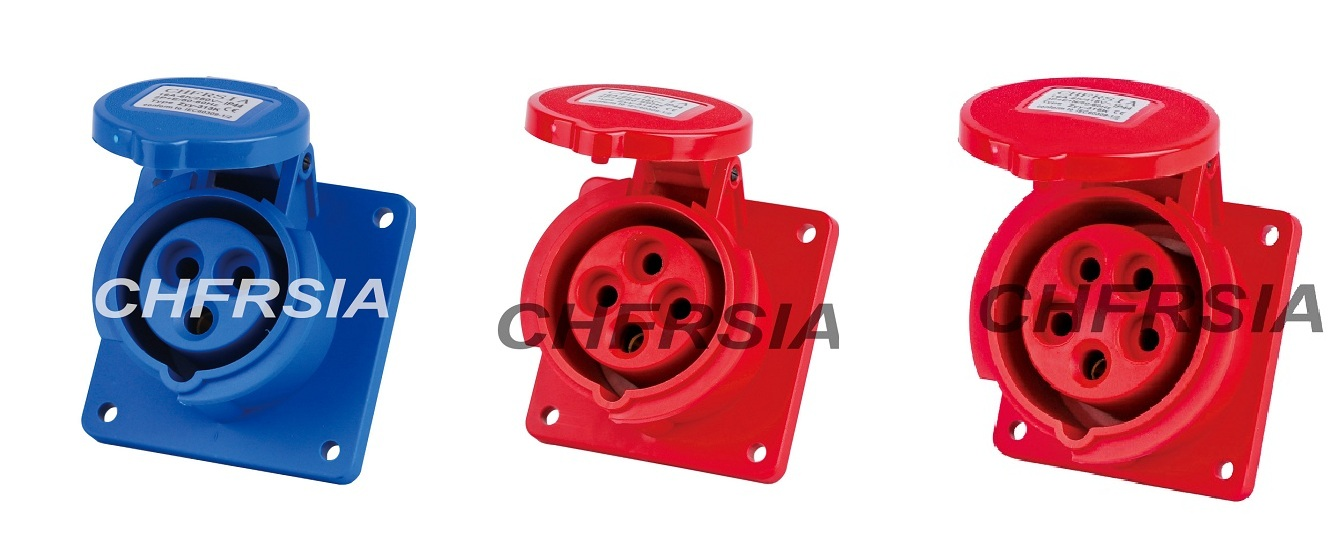 New generation Panel mounting industrial socket(straight)3P 4P 5P IP44