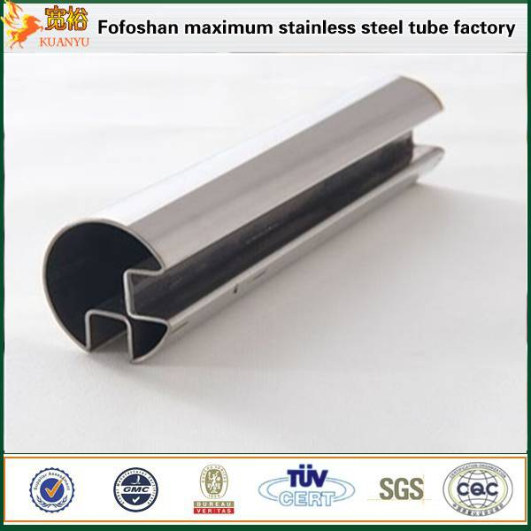 stainless steel glass hand railing ss304 double slot 90 deg pipe manufacturers