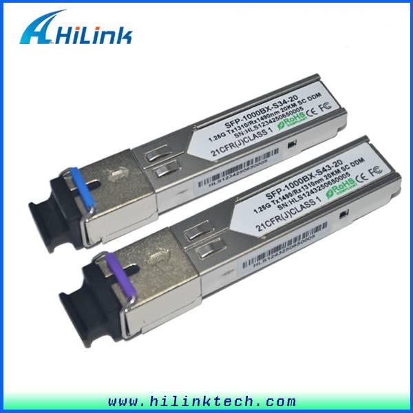 1.25G 1310/1490nm 20KM SFP BIDI Module Simplex SC
