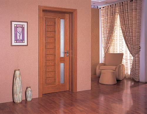 Standard size wooden frame frosted glass toilet door