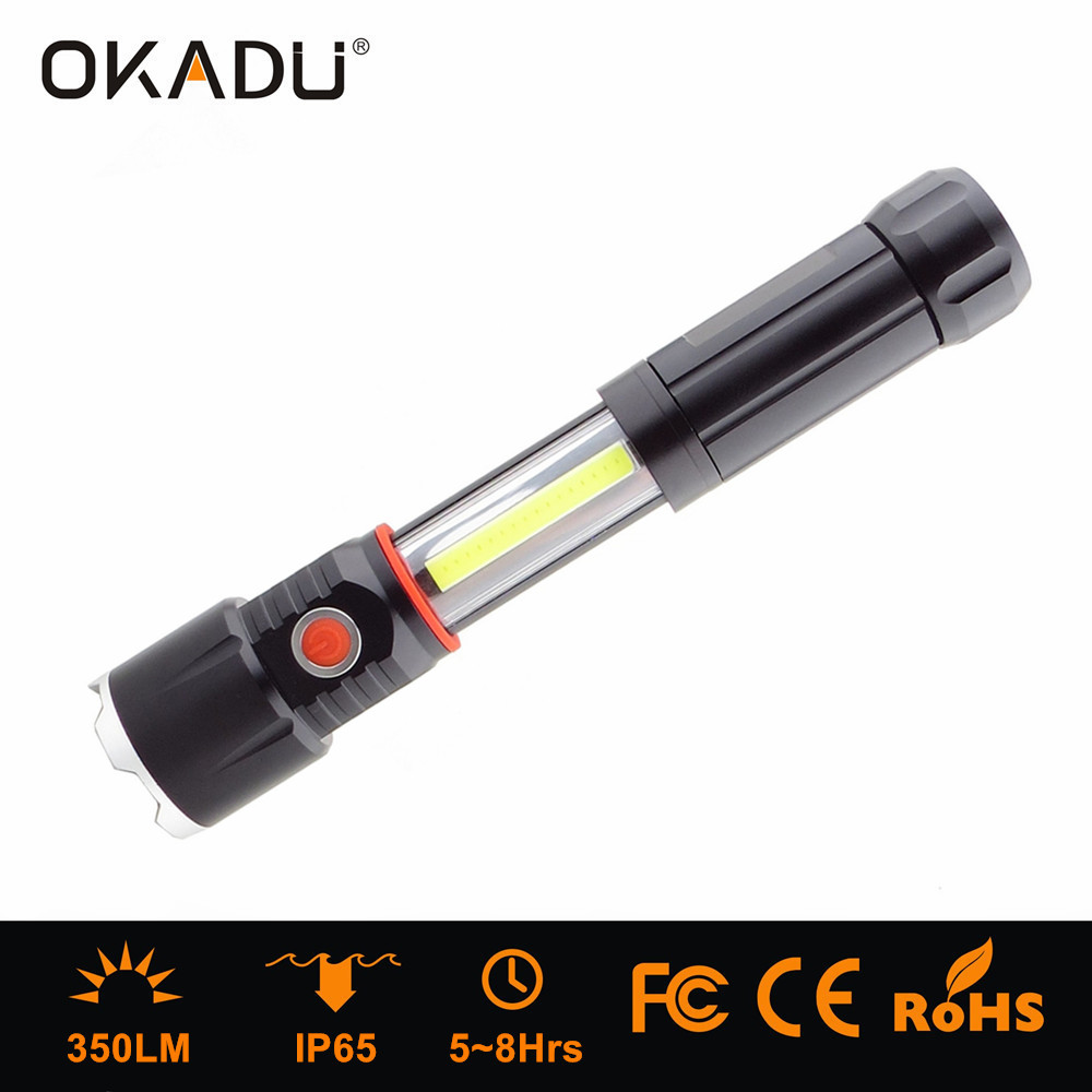 Okadu SF04 Magnetic COB Torch 4xaaa Battery COB Flashlight 350lm LED COB Torch