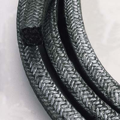 Graphite packing with carbon fiber corners