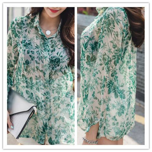 New wholesale floral blouse, women blouse long sleeves