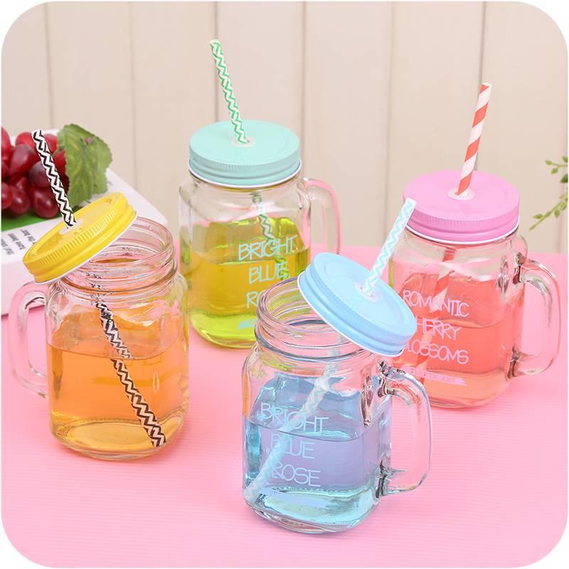 350ml 400ml 500ml glass mason jars wholesale and glass mason jar with lid and straw