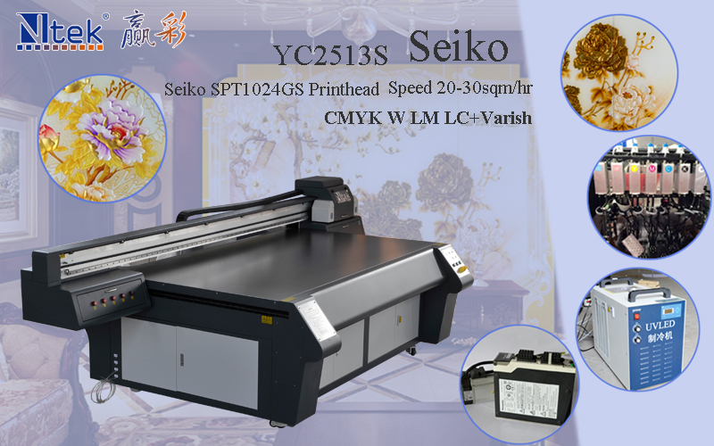 large format Jinan Yingcai NTEK uv flatbed printer digital YC2513G with best price in China