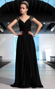 Black V-neck Bright Filament Beading V-back Evening Dress