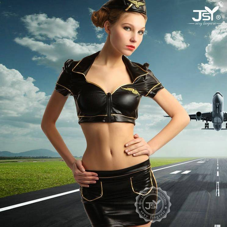 Mature Women Adult Black Leather Sexy air hostess costume lingerie Cospaly air Stewardess Uniform