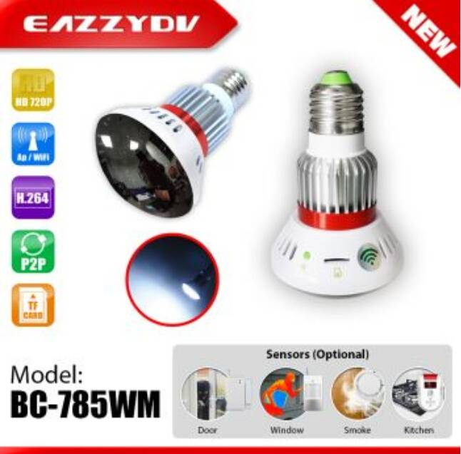 BC-785WM HD720P Mirror WiFi Bulb IP Network DVR Camera with 5W White LED+wireless alarm