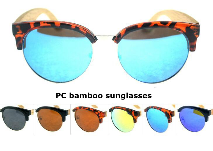 colourfull PC frame bamboo temple sunglasses for men and women