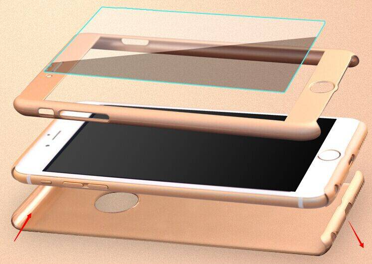New Nonskid Sleek 360 Full Protection Tempered Glass Case for Apple iPhone 6/6s/6 Plus/6s Plus
