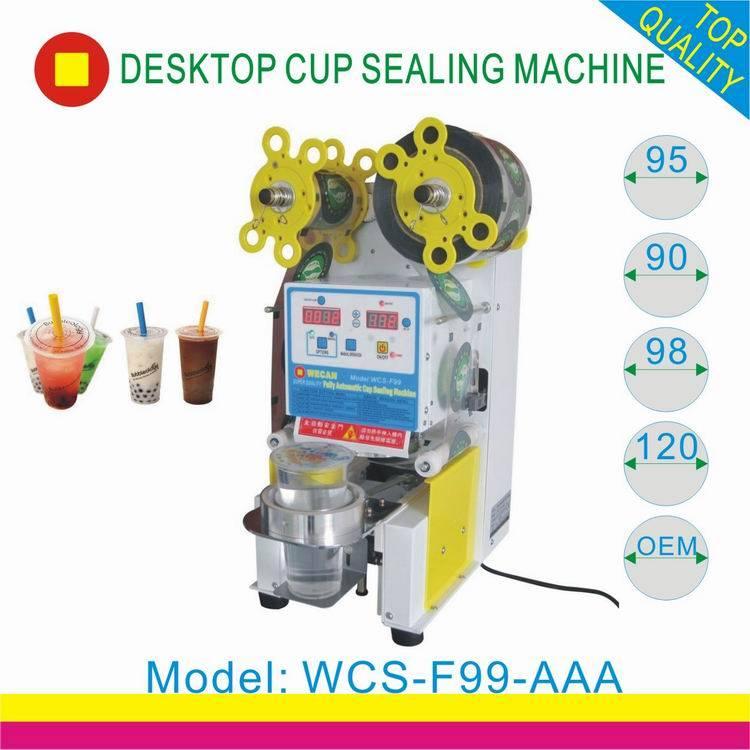 plastic bubble tea cup sealing machine/CE approved auto cup sealer machine for boba tea /plastic cup