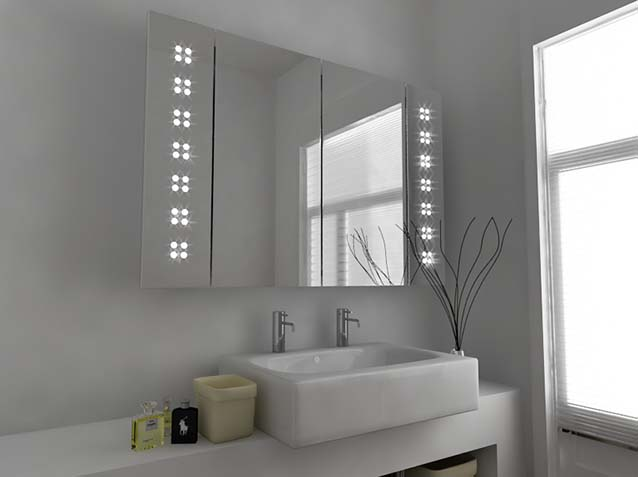 LED Aluminium Bathroom Mirror Cabinet with Touch Sensor & Defogger