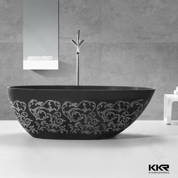 Solid surface freestanding black bathtub