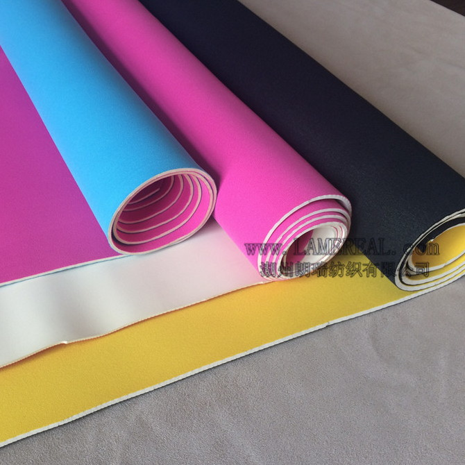 White neoprene fabric different colors yellow pink sky blue rose red polyester layca stretch elastic