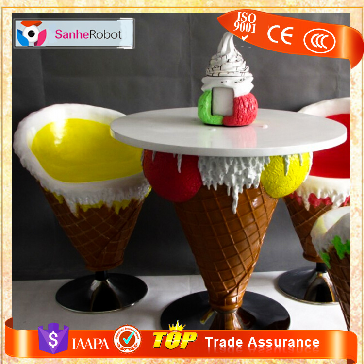 Ice cream table and chairs sets fiberglass ice cream cone chairs