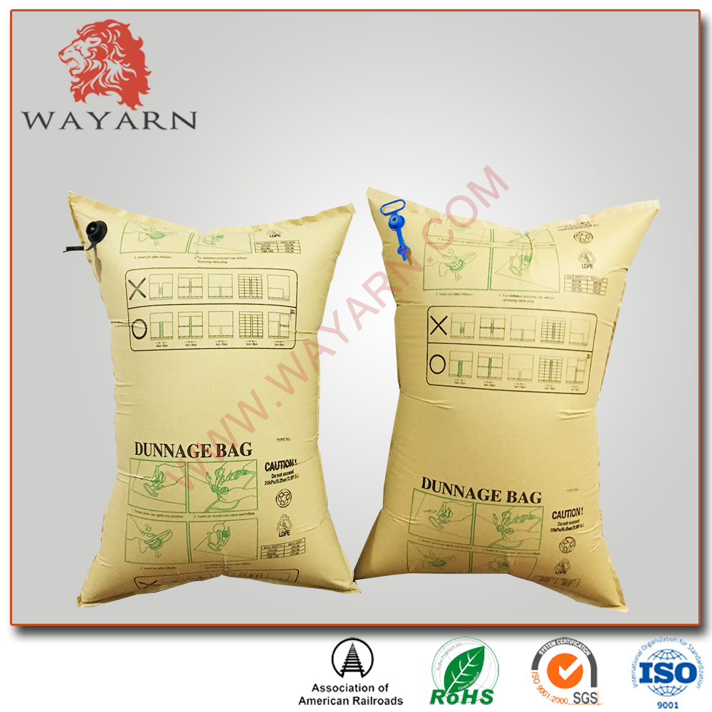 Container kraft paper dunnage air bag with fast filling valve